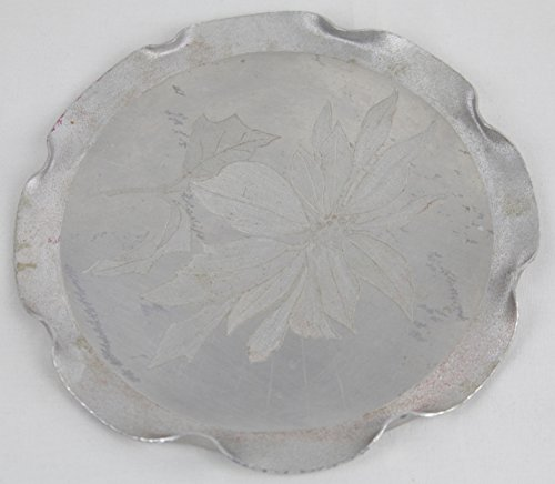 Vintage Hammered Hand Wrought Aluminum Pointsettia Flower Design Round Plate Tray with Ruffled Edges Artist -