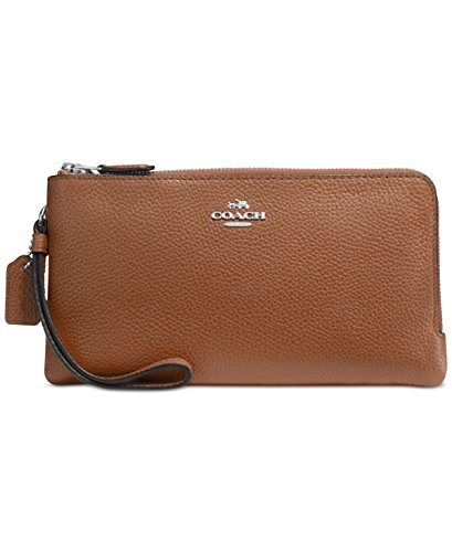 COACH Women's Polished Pebbled Double Zip Wallet Silver/Saddle Checkbook Wallet by Coach
