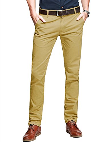 Free Match Mens Slim-Tapered Flat-Front Casual Pants