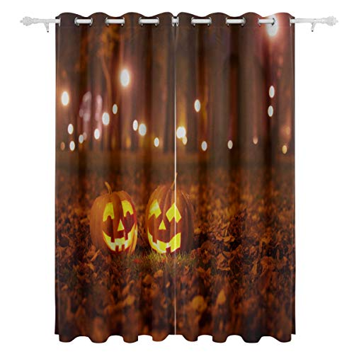 APJDFNKL Halloween Pumpkin with Burning Candles Decorative Hanging 2 Panel Set Printed Blackout Window Curtains for Bedroom Living Room Dining Room Window Drapes 55x84 Inch Curtain]()