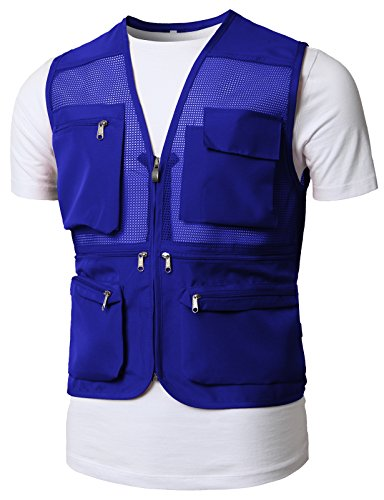 H2H Men's Outdoor Multifunction Multi-Pocket Mesh Fishing Photo Journalist's Vest Blue US XL/Asia 2XL (KMOV0150) (Coat Athletic Cotton)