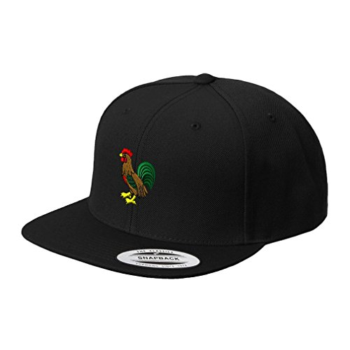 - Speedy Pros Rooster Style 1 Embroidered Flat Visor Snapback Hat Black