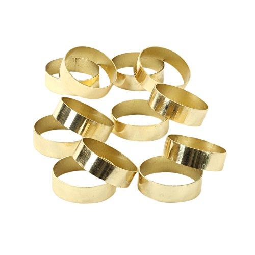 Koyal Wholesale Napkin Ring Metal Bands, Gold, Bulk Set of 12, for Paper Napkin, Cloth Napkin, Wedding Reception, Christmas Party, Thanksgiving Dinner, Restaurant Every Day Use]()