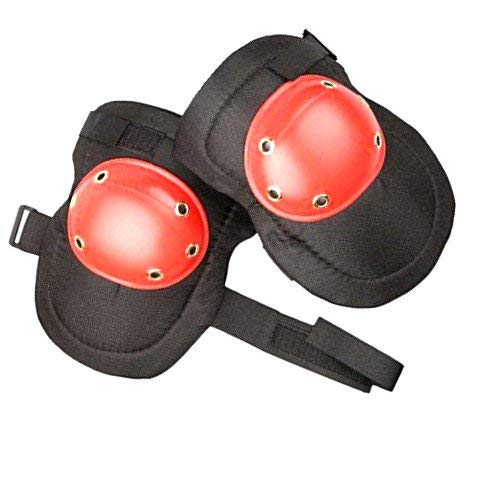 Heavy Duty Knee Pads Hard Polypropylene Cap Comfortable Foam Padding 2pc Pair (red)