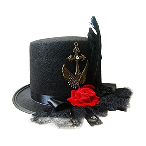 Victorian Top Hat with Rose & Feather Embellishments