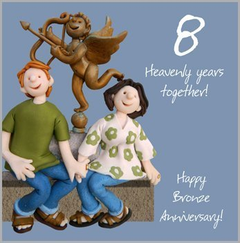8th wedding anniversary card by holy mackerel amazon co uk kitchen