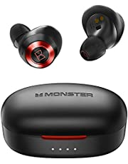 Monster Wireless Earbuds, Bluetooth 5.0 in-Ear Stereo Headphones, Built-in Mics for Clear Calls, USB-C Quick Charge, 24-Hour Playtime, Single/Twin Mode for iPhone/Android
