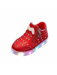 1-6T Children Kids Girls LED Sneakers,Light Up Luminous Zip Crystal Anti-Slip Sport Running Shoes