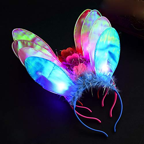 Glumes Light Up Crown, Cat Ear Headband, Rabbit Ears Headband, Devil Costume for Christmas New Year Party, LED Tiara, Xmas Wreath Garland Headband, Halloween Fairy Make up Headdress