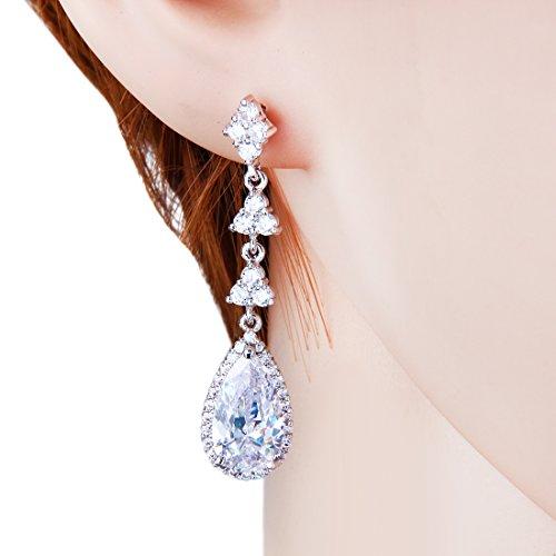 Wordless Love Teardrop Pear Shape CZ Women Bridal Necklace and Pierced Earring Jewelry Sets by Wordless Love (Image #2)