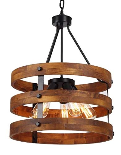 3 Light x 17.7″ Wide Metal Round Wood Shade Geometric Chandelier Industrial Farmhouse Lantern Hanging Foyer Pendant Lamp Retro Edison Bulb Open Frame Drum Shade Lantern Lamp