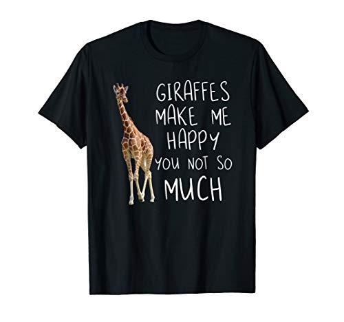 Giraffe make me happy - Cool Drawing Print Giraffe T-Shirt