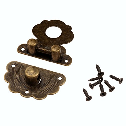 Dophee 5Pcs 40x36mm Drawer Cabinet Jewelry Wooden Case Box Antique Bronze Lock Staple Latch Hasp Vintage Latch ()