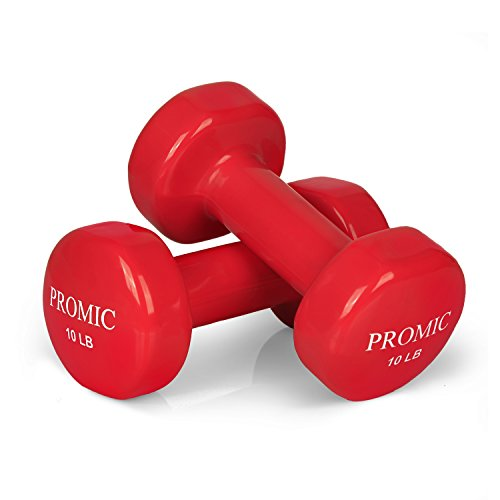 PROMIC 1lb to 20lb Hand Weights Deluxe Solid Vinyl Dumbbells with Non-Slip Grip for Hand Exercise, Sold in Pair