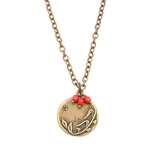 Necklace Circular Pewter (Berries & Butterfly Pendant Necklace - Hand Stamped Sun Embossed Vines Etched Brass Chain 1.25 & 24-in)