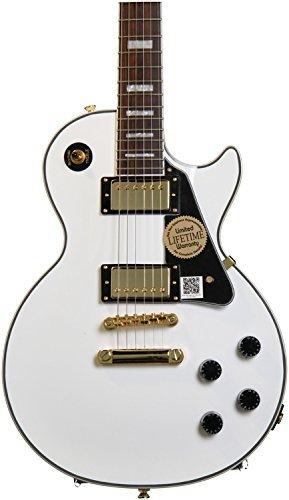 Epiphone Les Paul CUSTOM PRO Guitarra Eléctrica con Roscado de Bobina, Blanco Alpino