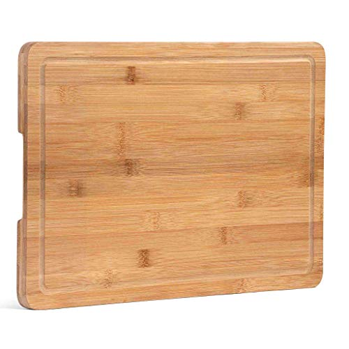 """Bamboo Cutting Board with Juice Groove, Extra Large (18x12""""), Cutting board for Kitchen, Chopping Board for Meat (Butcher Block), Cheese board, Charcuterie board, Reversible Serving Tray with Handles"""