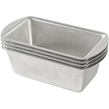 Nordic Ware Natural Aluminum Commercial Mini Loaf Pans, Four 2-Cup Pans