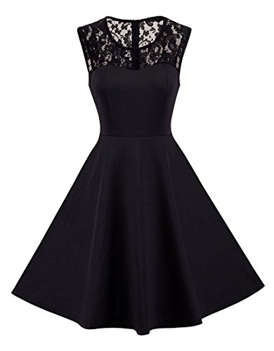 HOMEYEE Women's Vintage Chic Sleeveless Cocktail Party Dress A008 (M, Black)