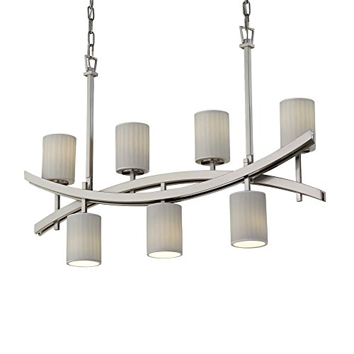 Justice Design Group Limoges Archway 7-Light Brushed Nickel Chandelier, Brushed Nickel Cylinder - Flat Rim Shade