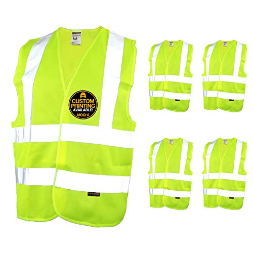 Tear Away Vest Safety (KwikSafety (Charlotte, NC) CREW Class 2 ANSI (Snag Free Breakaway Closure) Safety Vest (5 PACK) High Visibility Lightweight Reflective Tape Hi-Vis Construction Work Hi-Viz Surveyor Mens Yellow 2XL)