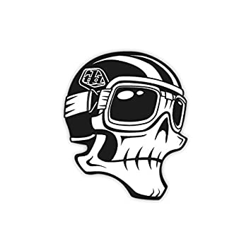 Troy lee designs tld skully sticker 6 white black