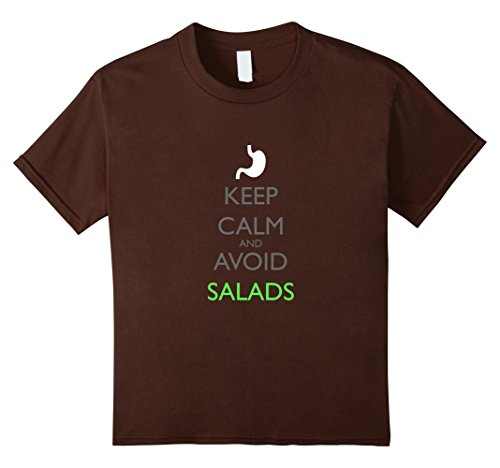 Kids Gastroparesis Awareness T Shirt Keep Calm and Avoid Salads 6 Brown
