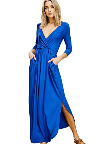 Annabelle Women's Empire Pleated Wrap V-Neck Solid Print Max Length Dress with Round Hem and Slit Bright Royal X-Large D5241B