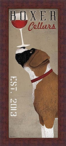 Boxer Cellars Ryan Fowler Red Wine Glas Dog Art Print Framed Picture Wall Décor - Cellars Ryan