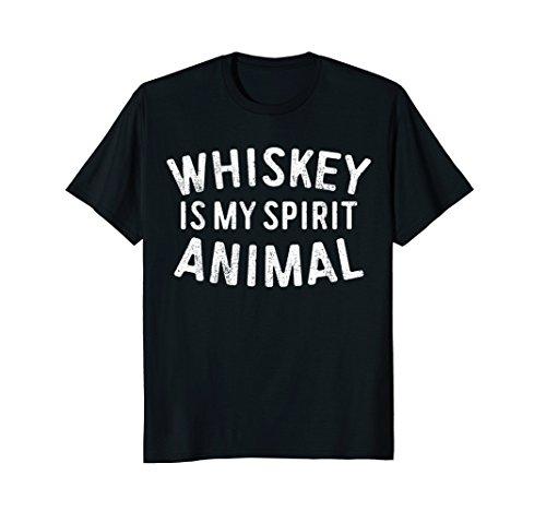 b1f4ec66 Mens Whiskey Is My Spirit Animal T-Shirt Funny Drinking Gift Large Black