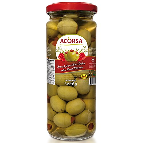 Olives Pimiento Stuffed (Acorsa Stuffed Green Olives with Minced Pimiento from Spain - Classic Olive Selection - 7oz)