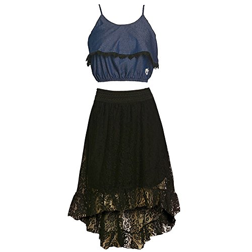 Dollhouse Big Girls Dark Blue Black Trim Top Lace Hi-Low 2 Pc Skirt Set 7-8