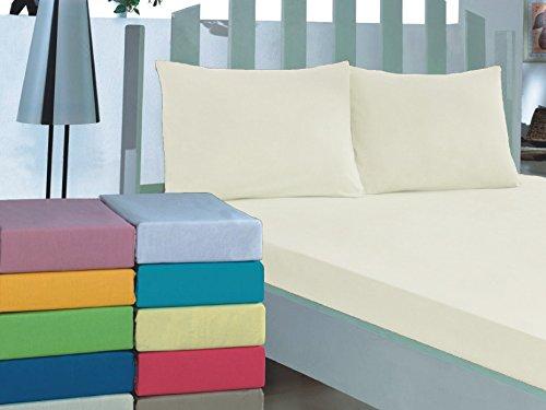 Bettlaken 100% Baumwolle 4 Größen 30 Farben Betttuch ohne Gummizug Haustuch Creme 210x240cm