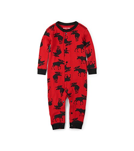 (Little Blue House by Hatley Unisex Baby Union Suits, Moose On Red, 6-12)