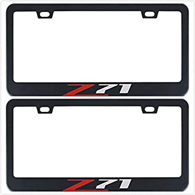 Auggies Z71 for Chevy Colorado Silverado 1500 Black Red Stainless Steel Black License Plate Frame Cover Holder Rust Free with Caps and Screws (2): Automotive
