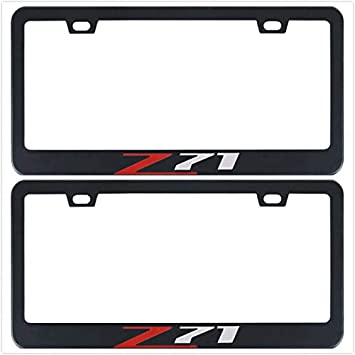 2 Auggies Z71 for Chevy Colorado Silverado 1500 Black Red Stainless Steel Black License Plate Frame Cover Holder Rust Free with Caps and Screws