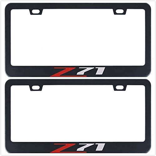 Auggies Z71 for Chevy Colorado Silverado 1500 Black Red Stainless Steel Black License Plate Frame Cover Holder Rust Free with Caps and Screws (2) ()