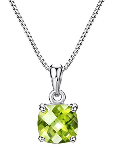 2ct Peridot Pendant Necklace Sterling Silver Gemstone August Birthstone Fine Jewelry for Women, 16 inch ()