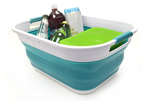 (SAMMART Set of 2 Collapsible Plastic Storage Basket - Foldable Pop Up Storage Container/Organizer - Portable Washing Tub - Space Saving Hamper/Basket (Set of 2, Bright)
