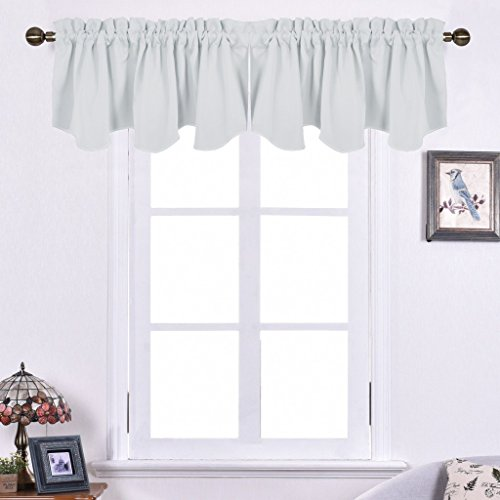 NICETOWN Room Darkening Scalloped Valances - 52-inch by 18-inch Rod Pocket Draperies Curtains for Bedroom, Platinum, One Pair