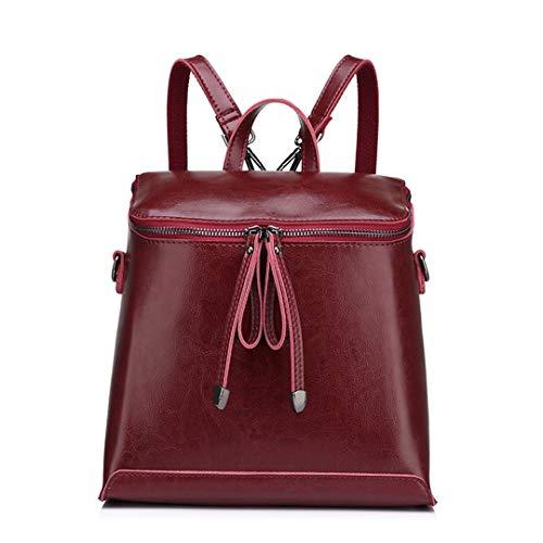 - Women Backpack Vintage Oil Wax Cow Split Leather Backpack Female School Bags For Teenagers Girls Shoulder Bag