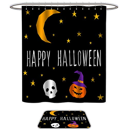 Bathroom Sets Non SlipHappy halloween card template Abstract halloween pattern for design card party invitation poster album menu t shirt bag print etc 8. Bath Mats ic,Shower Curtain,12pcs Metal Hoo ()
