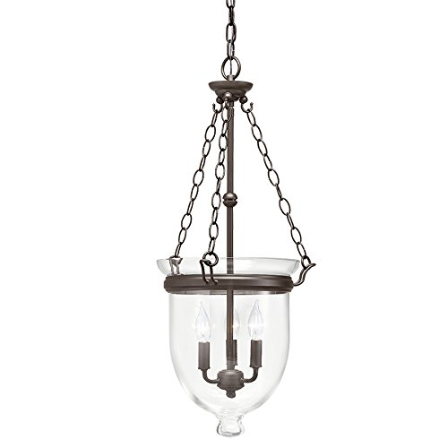 Kichler Lighting Belleville 15.51-in Olde Bronze Williamsburg Single Clear Glass Urn Pendant
