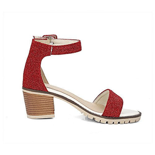 BalaMasa Ladies Chunky Heels Metal Buckles Peep-Toe Urethane Sandals Red ueozx