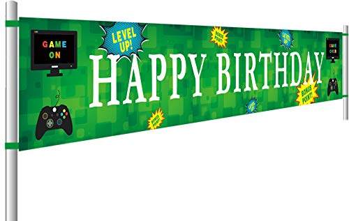 (Video Game Happy Birthday Banner | Personalized Gaming Birthday Flags with Gamepad Computer Monitor | Gaming Party Decorations (9.8 x 1.5)