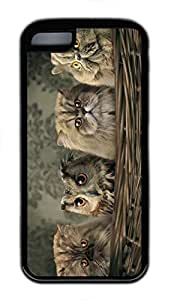 iPhone 5c case, Cute Cats And Owl iPhone 5c Cover, iPhone 5c Cases, Soft Black iPhone 5c Covers by runtopwell