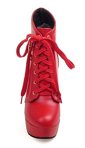 YE Women's High Heel Platform Block Heels Lace up Ankle Boots with Buckle Shoes Red OUREN
