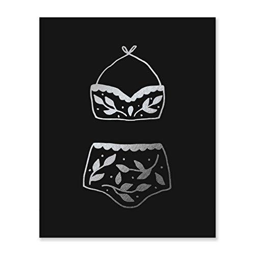 - Silver Foil Art Gift Bikini Black Poster Decor Vacation Home Decoration Vintage Boho Bathing Suit Hanging Swimwear Beach House Unframed Cabana Sign Seaside Condo Picture Tiki Bar Print 8 x 10 F5