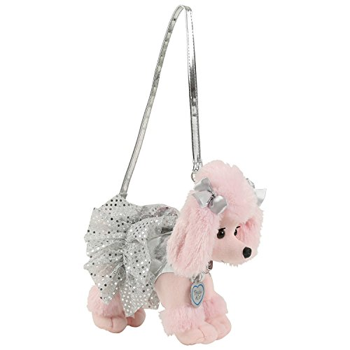 Poochie Co. Poodle with Silver Disco Dots Tutu Plush Handbag (Plush Poodle Purse)