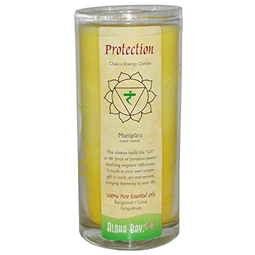 Candle Chakra Energy (Aloha Bay, Chakra Energy Candle, Protection, Yellow, 11 oz, 1 Candle - 3PC)